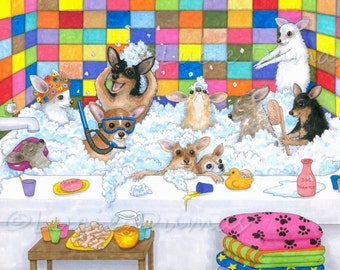 Archival Art Print Dog 121 Chihuahua in bath, Bathroom art, from funny painting by Lucie Dumas