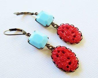 Handmade Earrings Vintage Red and Turquoise Blue Dangles