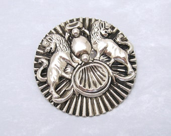 Huge Vintage Lion Pendant Brooch Sixties Jewelry P6231