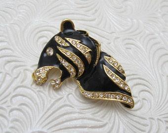Vintage Rhinestone Brooch Tiger Panther Cat Jewelry P6297