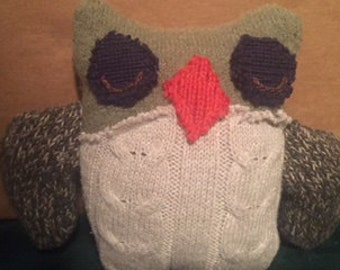 Miniature Owl Stuffie made from Upcycled Sweaters