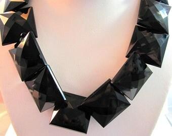 Faceted Puffed Square Ebony Black Fashion Beads
