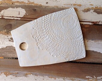 Handmade ceramic cheese board serving plate