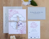 Floral Wedding Invitation, Wedding Invitation Package, Romantic Invitation, Pink and Navy DEPOSIT