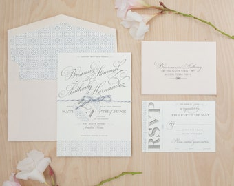 Wedding Invitation handmade, romantic invitation, monogram wedding invitation, blush and grey invitation SAMPLE