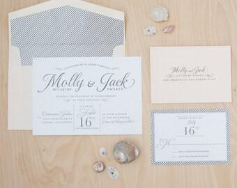 Modern Wedding Invitation, Carefree Elegance Invitation, Beach Invitation, Pearlescent Paper DEPOSIT