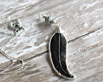 Feather Layering Pendant, Carved Black Buffalo Horn, Oxidized Sterling Silver, Boho, Tribal, Long Necklace, Hill Tribes Bali Bead
