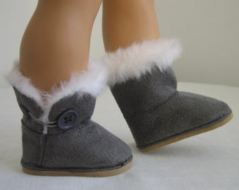 American Doll Accessories-Doll Boots-AMERICAN GIRL DOLLS, Gray Fur Trimmed Faux Suede Boots Fit American Girl Dolls