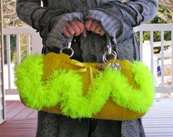 Mean Mr. Mustard - A Felted Handbag, Oblong Shaped, Mustard Yellow