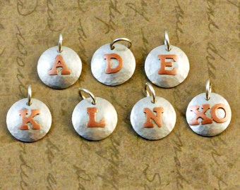 """1/2"""" inch sterling silver charm, initial, letters, copper, soldered, small, domed, oxidized, rustic, simple"""
