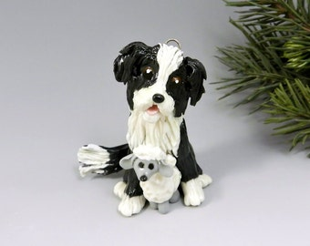 Border Collie Christmas Ornament Figurine Sheep Toy Porcelain