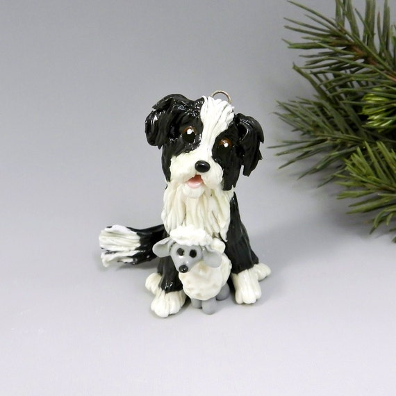 Shepherd Gold On Blue Silhouette Ornament: Border Collie Christmas Ornament Figurine Sheep Toy Porcelain