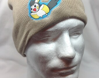 Pokemon Emolga Beanie Skullcap Hat - made with up-cycled Pokemon fabric