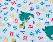 Alphabet and Dragons- Vintage Fabric Whimsical Novelty Adorable New Old Stock 80s