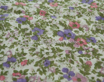 Pink and Purple Flower Garden - Vintage Fabric New Old Stock 50s 60s 37 in wide