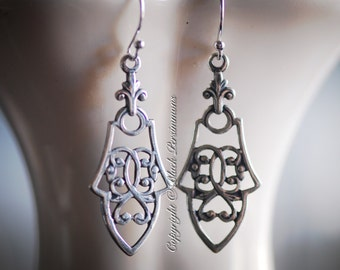 NEW - Vesta Earrings - Solid Sterling Silver .925 Ear Wires - Brass Filigree Stampings - Insurance Included
