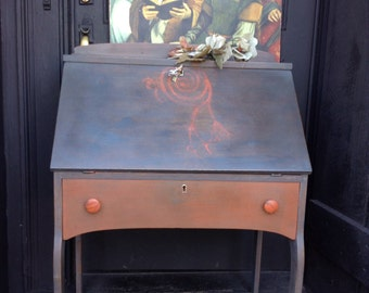 SOLD - Antique Writing Desk - Painted Desk - Bohemian - Vintage Side Table - Shabby Chic Desk - Hand Painted Table