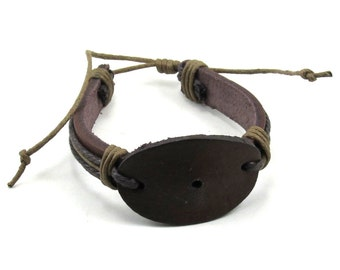 Unisex Brown and Tan Leather Tie Cord Bracelet with Oval Setting for Steampunk / Tribal Assemblage Jewelry