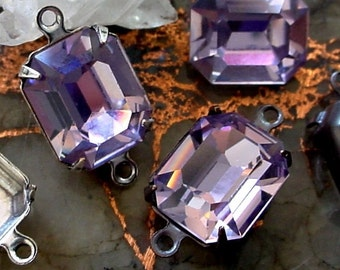 3 Vintage Swarovski Crystal 12/10 Octagon Rhinestones Light Amethyst 10/12 mm Dark Bronze Patina Brass/Antique Silver Connector Setting 9PQR