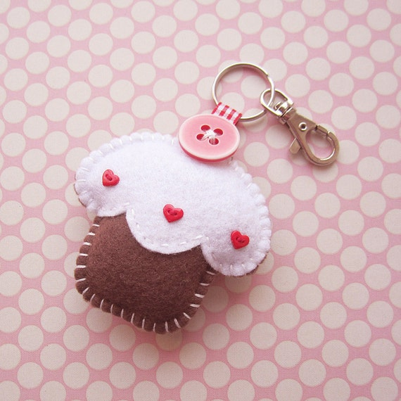 SUPER CUTE PROMO : Handmade Felt Cupcake Keyring Charm - assorted colours