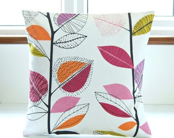 16 inch decorative pillow cover, leaves raspberry pink black violet amethyst orange, cushion cover