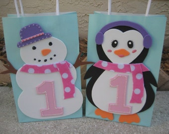 Snowman or Penguin Birthday Party Favor Bag