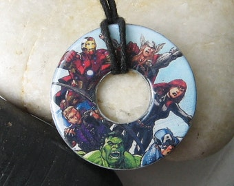 THE AVENGERS Modern Design Upcycled papers Washer Hardware Pendant Necklace Marvel Comic Books