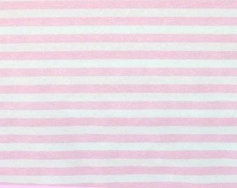 "1 yard Baby pink 1/2"" stripes 1 yard cotton lycra knit"