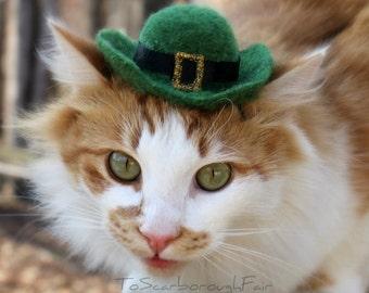 Saint Patrick's Day Pet Hat - Leprechaun Cat Hat -  -Saint Patty's Day - Costumes for Cats Hand Felted Hat - Pet Costume - Cat Photo Prop