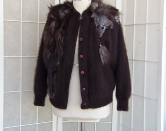 Vintage 1980's Angora Sweater Jacket with Fur Collar