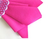 Deep Pink, 100% Wool Felt, Choose Size, Nonwoven Wool, Hair Clip Supply, Felt Accessory, Pantone Pink Flambe, DIY Felt Craft, Felt Flowers