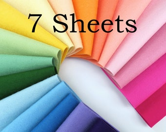 Wool Felt Fabric,  CHOOSE SEVEN SHEETS,  8 x 12 Inch,  1mm Thick Felt,  Merino Wool Felt, Felt Squares