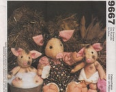 McCalls 9667 MaMa PIG and Piglet DOLLs and Clothes Sow Pattern 8 and 14 Inch Pattern Stuffed Animal Sewing Pattern UNCUT