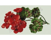 Loom Beading Tapestry Pattern Red Geranium Flowers with Word Chart Bead Weaving Graph