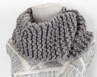 Cowl Neck Warmer  Infinity Scarf Knitted  Grey Chunky