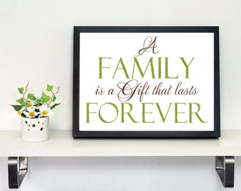 Family Wall Decal LG A Family is a Gift that lasts Forever Vinyl Lettering Wall Decal