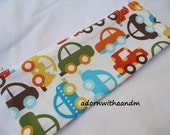 Ann Kelle cars zippered pencil case, pouch, school supply, homeschooling, zippered pouch, crayon case, retro cars, organic fabric