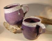 Large Pottery Mug Handmade Purple Grape With White Rim - Serving Coffee Tea