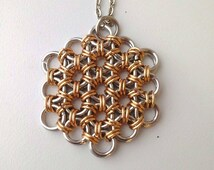 Flower of Life Pendant, Bronze and Silver Chainmaille Jewelry, Sacred Geometry Mens Pendant Handmade Mens Jewelry Healing Jewelry Energy