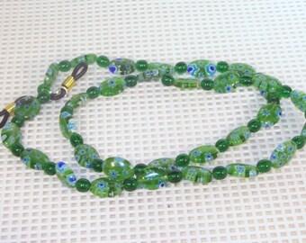 Green Mille Fiori Glass - Eyeglass Necklace