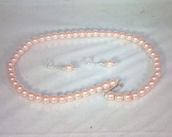Pearls Set  - Necklace & Earrings - Glass Pearls -  Medium Pink - Made to Order - Any Color - Bridesmaids, Jr Bridesmaids
