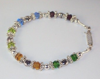 Mother or Grandmother of Five Swarovski Crystal Birthstone Bracelet with Children's Initials