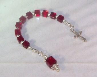 Swarovski Crystal Pocket Rosary - Birthstone - Swarovski Cubes - Silver or Gold
