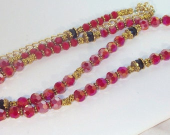 Swarovski Crystal Jewelry - Ruby, Black and Gold Necklace