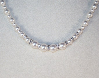 Swarovski Pearls and Crystal Necklace - Shown in White -  MADE TO ORDER
