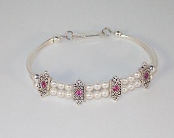 Swarovski Pearl & Rose Crystal Bracelet