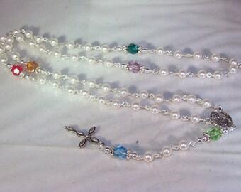 Swarovski Pearl & Crystal Custom-Made Rosary - Family/Birthstone Rosary - Made to Order