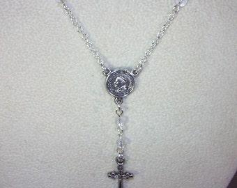 SIlver & Gemstone Rosary Necklace - Custom Made - Yolanda Foster Style - Ice Flake Quartz
