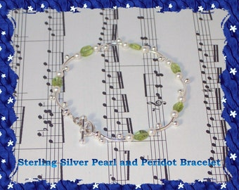 Sterling Silver Pearl and Peridot Bracelet