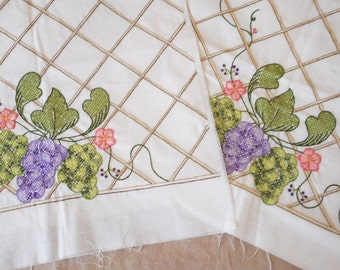 Vintage Lattice Work and Grapes Embroidered 2 Pillow Tops to Sew or Craft Unfinished Pillow Hand Embroidered Cottage Decor